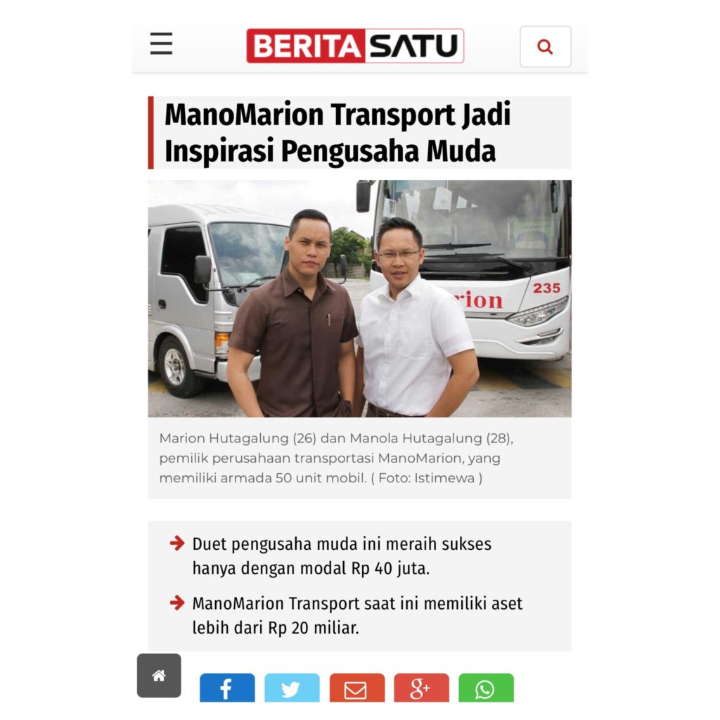 marion hutagalung dan manola hutagalung pemilik manomarion transport di majalah beritasatu