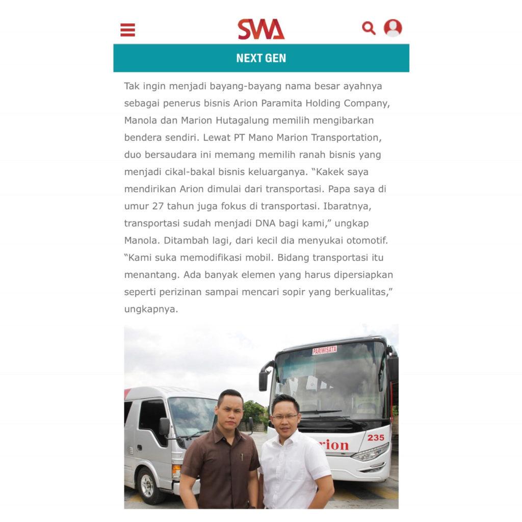 marion hutagalung dan manola hutagalung pemilik manomarion transport di majalah swa